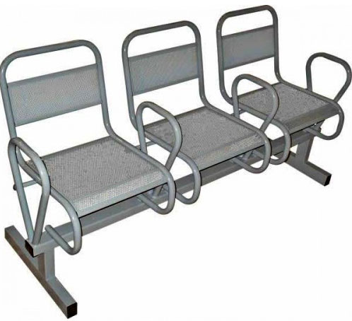 Секция стульев М112-023/024 на металлической раме 3-х/4-х местная перфорированные с подлокотниками.