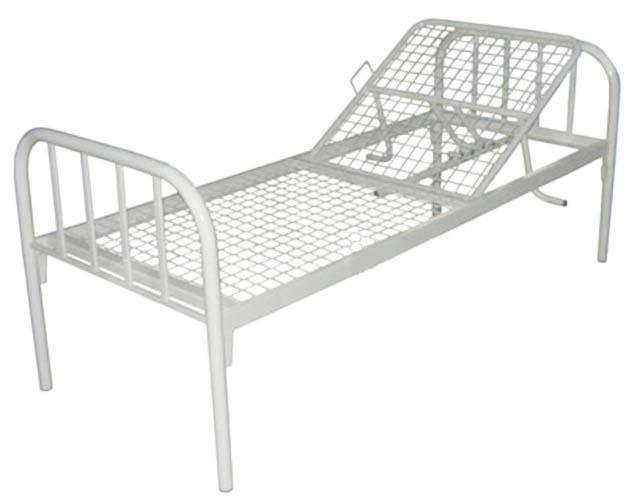 Кровать медицинская металлическая 184-1 с регулируемым подголовником для лежачих больных.