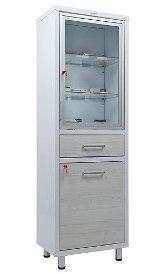 Шкаф медицинский для документов Н203 ШМ-SSD стекло, ящик