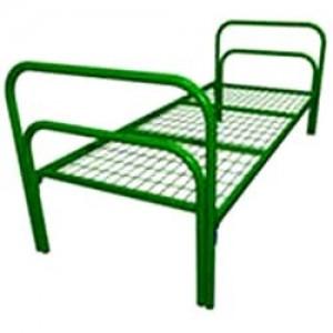 Кровать металлическая с прямоугольными спинками бытовая с сеткой 50*100мм.