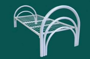 Кровать общебольничная металлическая с круглой спинкой с сеткой 50*100мм.