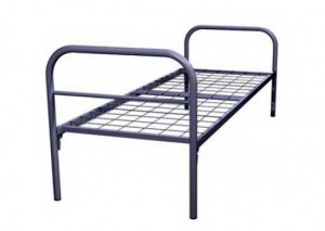 Кровать металлическая (спинки прямоугольные) для общежитий .