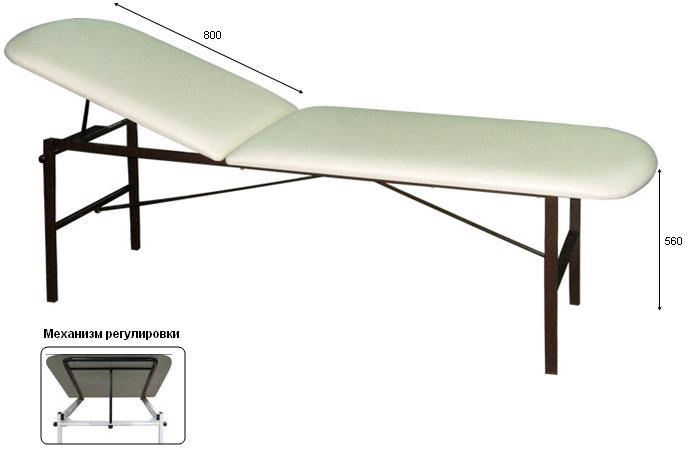 Кушетка смотровая М111-038 разборная с регулируемым подголовником длиной 800мм.