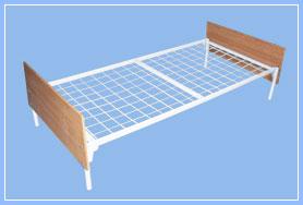 Кровать металлическая с меламиновыми спинками с сеткой 50*100мм.