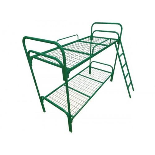Кровать двухярусная металлическая для общежитий с сеткой 50*100мм.