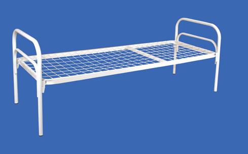 Кровать металлическая с прямоугольными спинками с сеткой 100*100 мм (эконом вариант)