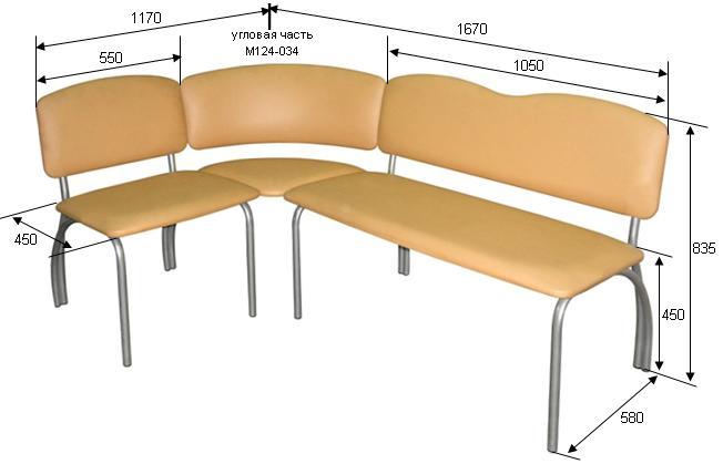 Угловой диван М124-03 на металлическом каркасе