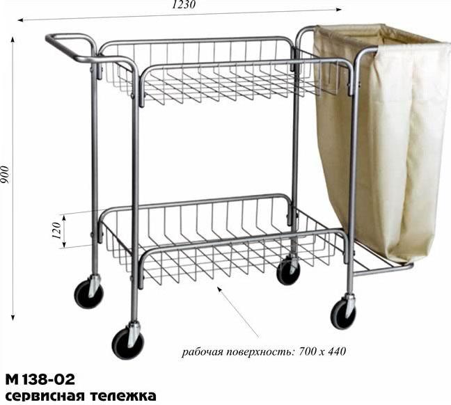 Тележка сервисная М138-02 медицинская для уборки белья. Тележка сервисная, уборочная предназначена для перевозки и сбора постельного и др. белья.