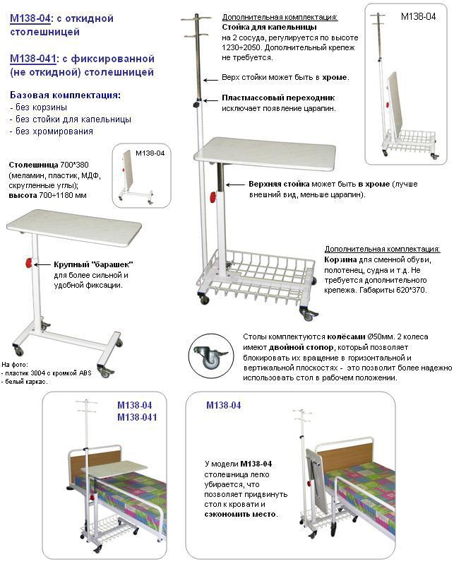 Стол прикроватный М138-041 с фиксированной (не откидной) столешницей