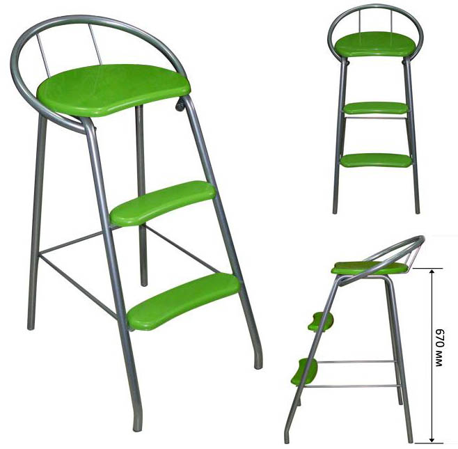 Барный стул стремянка М81 (стул лестница).  Порошковая покраска металла.