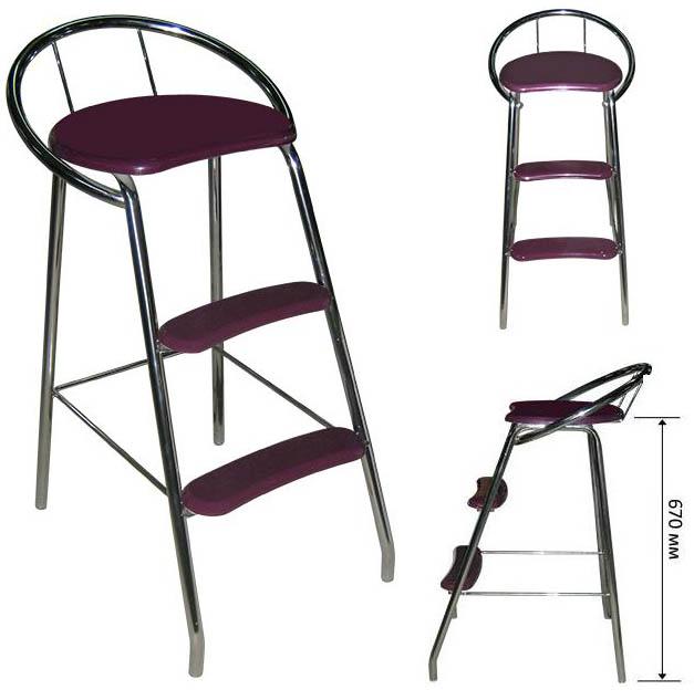 Барный стул стремянка М81 (стул лестница).  Хромированное основание.
