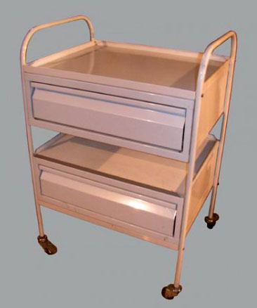 Столик инструментальный медицинский М138/3 манипуляционный -модель с двумя выдвижными ящиками и двумя полками из стекла, либо нержавейки.