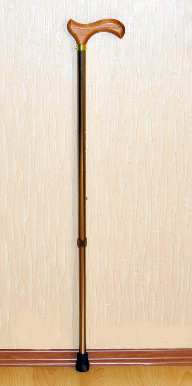 Трость телескопическая алюминиевая с деревянной ручкой  арт. ТР1