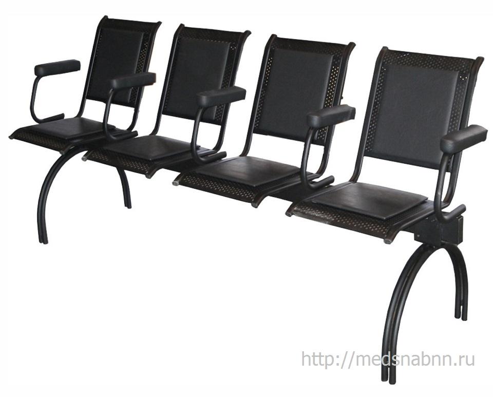 Секция стульев с подлокотниками СС-432р разборная на металлической раме 3-х и 4-х местная