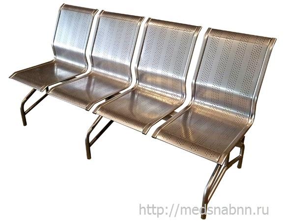 Секция стульев СС-438 на металлической раме 4-х секционная