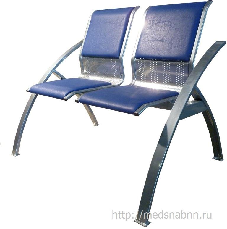 Секция стульев для залов ожидания СС-488 разборная на металлической раме 2-х местная.