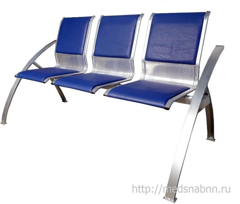 Секция стульев для залов ожидания СС-488 разборная на металлической раме 3-х местная