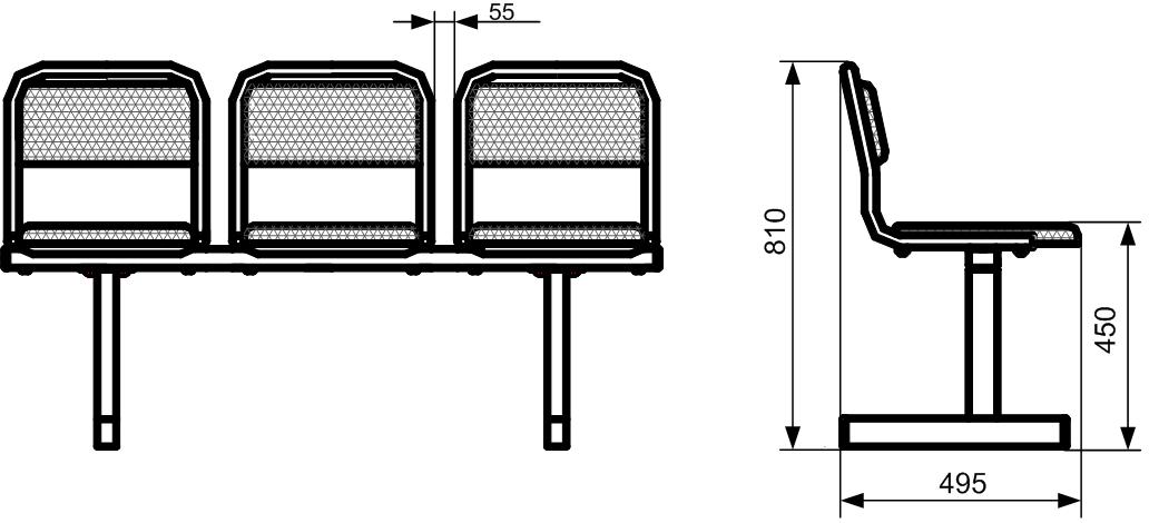 Секция стульев СС-480 на металлической раме 2-х/3-х/4-х/5-и местная с мягкими сиденьями