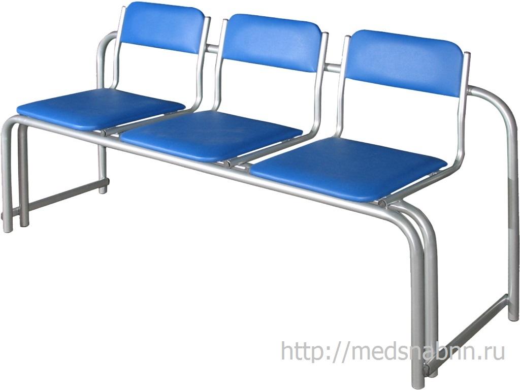 Секция стульев СС-430 3-х местная стопируемая разборная на металлической раме