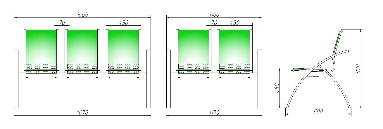 Секция стульев для залов ожидания СС-488 разборная на металлической раме 2-х и 3-х местная