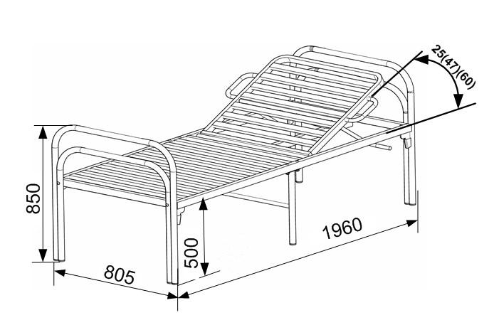 Кровать со стальной рейкой и подголовником К.154.15