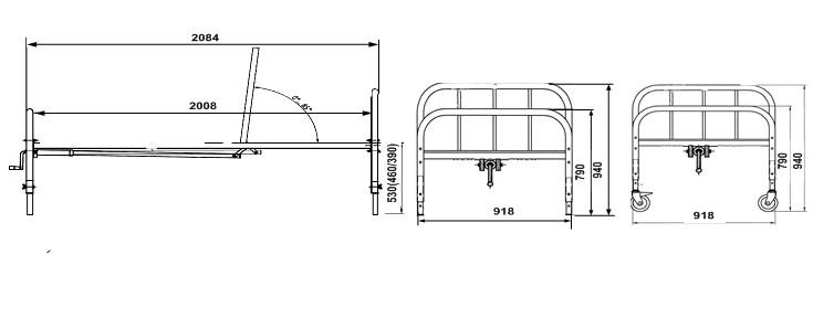 Кровать медицинская функциональная 2х секционная с металлической рейкой КФР-2В.