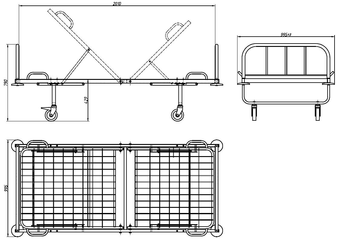 Кровать медицинская функциональная 2х секционная со сварной сеткой   КФС-2Г