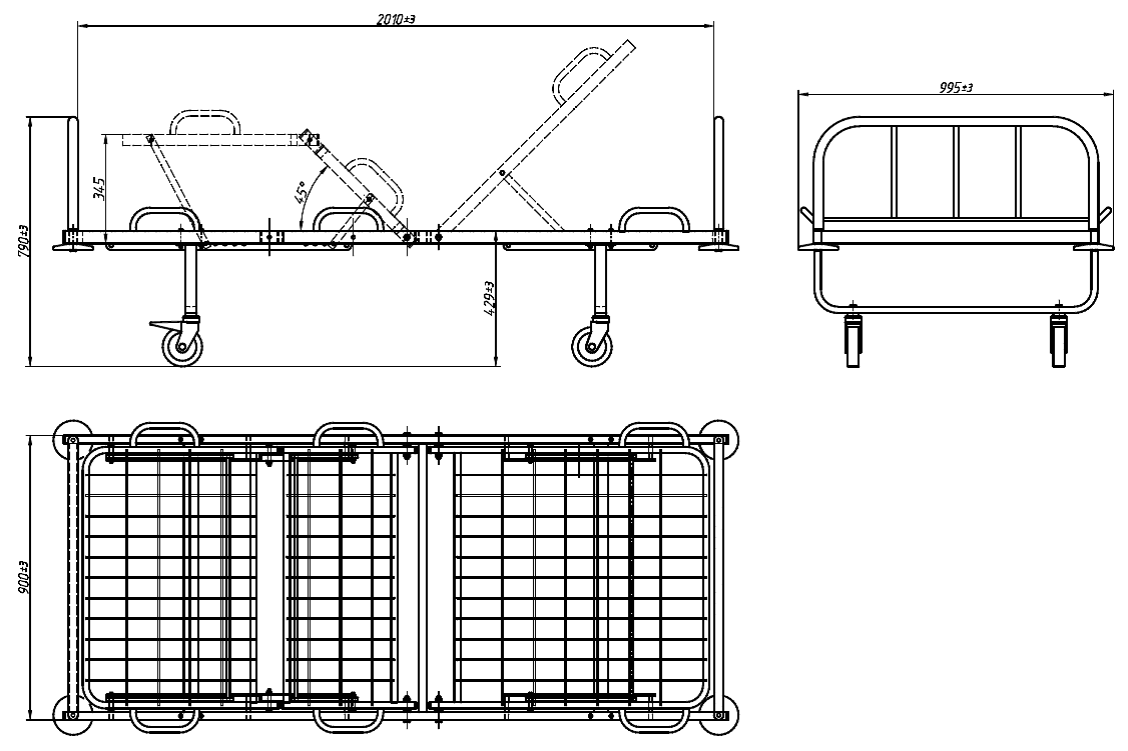 Кровать  медицинская функциональная 3х секционная со сварной сеткой КФС-3Г