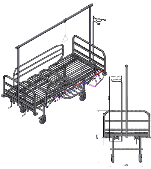 Кровать медицинская функциональная  4-х секционная со сварной сеткой КФС-4В. ДО
