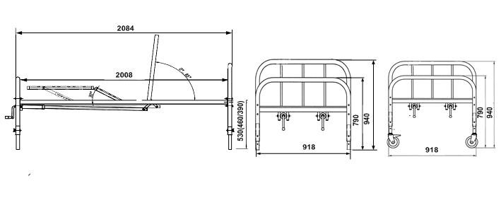 Кровать медицинская функциональная 4х секционная  с металлической рейкой  КФР-4В