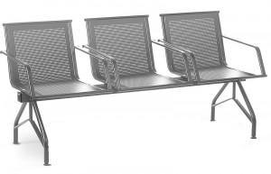 Многоместная перфорированная секция стульев КС86П с подлокотниками