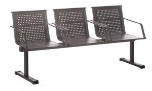 Многоместная перфорированная секция стульев КС88П с подлокотниками
